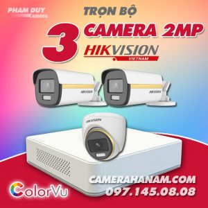 Bộ 3 camera Hikvision 2MP Full Color