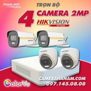 Bộ 4 camera Hikvision 2MP Full Color