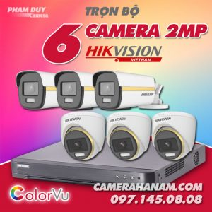 Bộ 6 camera Hikvision 2MP Full Color
