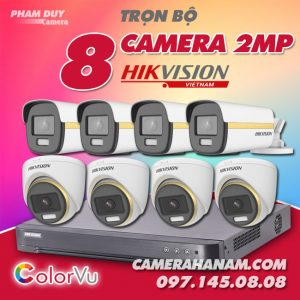 Bộ 8 camera Hikvision 2MP Full Color